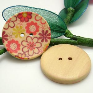 Wood button, Assorted colours, Diameter 30mm, 2 buttons, (XMK320)